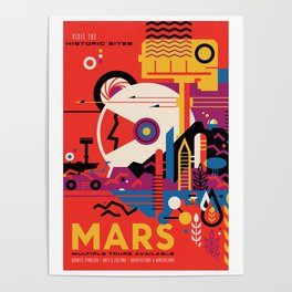 NASA Retro Space Travel Poster #9 Mars Poster