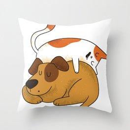 Sleeping Cat and Dog Throw Pillow