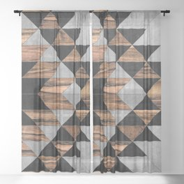 Urban Tribal Pattern No.10 - Aztec - Concrete and Wood Sheer Curtain