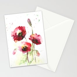 Watercolor flowers of poppy Stationery Cards