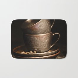 coffee cups and beans on rustic table Bath Mat