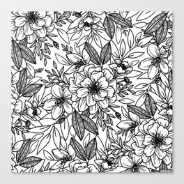 Victorian Floral in Black and White Canvas Print