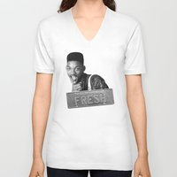 fresh prince V-neck T-shirts featuring Fresh prince by MartiniWithATwist