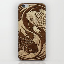 Yin Yang Koi Fish with Rough Texture Effect iPhone Skin