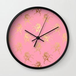Gold elegant Unicorns on pink pattern Wall Clock
