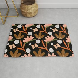Colorful floral Cut Out Flowers and Leaves fabric Black Rug