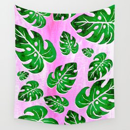 tropical plants on pink Wall Tapestry