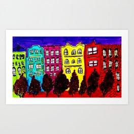 neighborhood walk Art Print