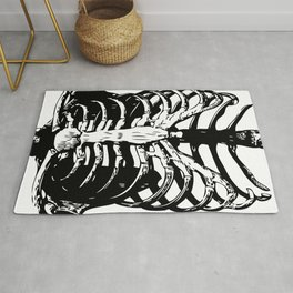 Skeleton Ribs | Skeletons | Rib Cage | Human Anatomy | Black and White | Rug