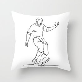 Rugby Player Kicking Ball Continuous Line Throw Pillow