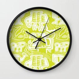 Molas Molas | Tropical Bird Pattern | Lime  Wall Clock
