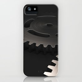 Set of metal gears and cogs on black iPhone Case