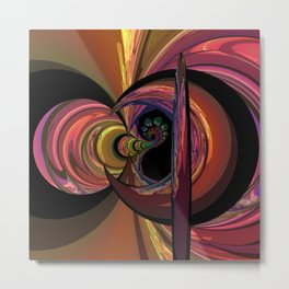 Crescent Moon Fractal Metal Print