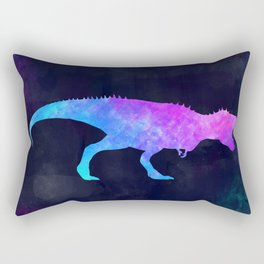 T-REX IN SPACE // Dinosaur Graphic Art // Watercolor Canvas Painting // Modern Minimal Cute Rectangular Pillow