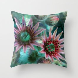 Succulents Flower Garden Throw Pillow