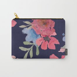 Navy and Pink Watercolor Oleander Carry-All Pouch