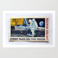 FIRST MAN ON THE MOON Art Print