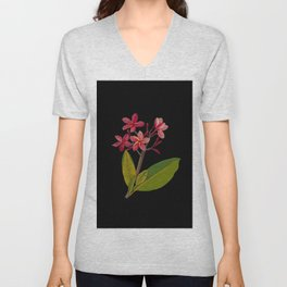 Plumeria Rubra Mary Delany Floral Paper Collage Delicate Vintage Flowers Unisex V-Neck