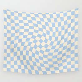 Check II - Baby Blue Twist — Checkerboard Print Wall Tapestry