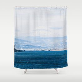 Lake and Mountain Cap // Grainy Foggy Blue Landscape Photography in Beautiful Oregon Shower Curtain