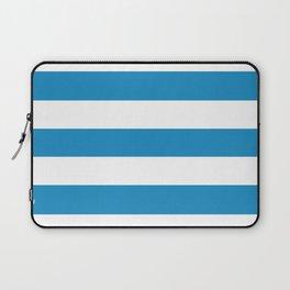 Cyan cornflower blue - solid color - white stripes pattern Laptop Sleeve