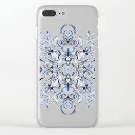 Indigo, Navy Blue and White Calligraphy Doodle Pattern Clear iPhone Case