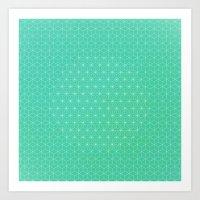 Mint Asa-no-Ha Stars Art Print