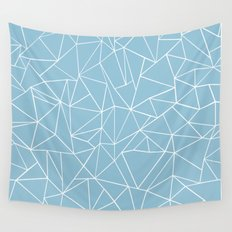 Abstraction Outline Sky Blue Wall Tapestry