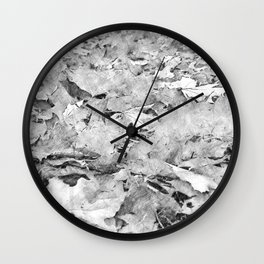 black white autumn leaves pencil sketch Wall Clock