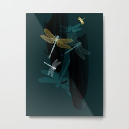 Midnight Dragonflies Metal Print