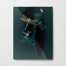 Midnight Dragonflies Metal Print