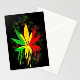 Marijuana Leaf Rasta Colors Dripping Paint Stationery Cards