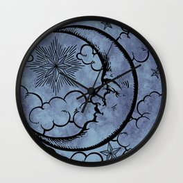 Moon vintage blue grey Wall Clock