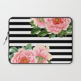 Pink Peonies Black Stripes Laptop Sleeve