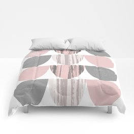 Pink and Grey Geometric Abstract Scallop Pattern Comforters
