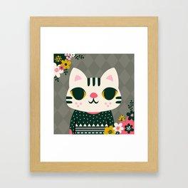 Cat in a Sweater / Cute Animal Framed Art Print