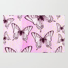 butterfly pattern on pastel pink Rug