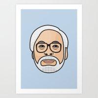 hayao miyazaki Art Prints featuring Hayao Miyazaki Portrait - Blue by Cedric S Touati