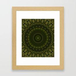 Mandala in olive green tones Gerahmter Kunstdruck