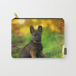 Wonderful autumn forest with curious dog puppies Carry-All Pouch