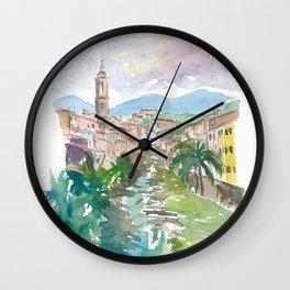 Italian Country Town Liguria with Creek And Bridge Wall Clock