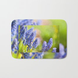 Blue Muscari Mill flowers close-up in the spring Bath Mat