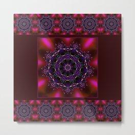 Purple and Green Modern Bejeweled Mandala Metal Print