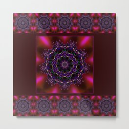 Purple and Green Modern Bejeweled Mandala Metal Print