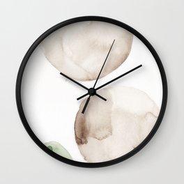 20|181104 Australian Leaf Green & Brown Earth Orbs | Watercolour Circle Abstract Geometrical Wall Clock