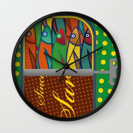 Pop art: Sardines Wall Clock