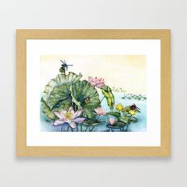 Japanese Water Lilies and Lotus Flowers Framed Art Print