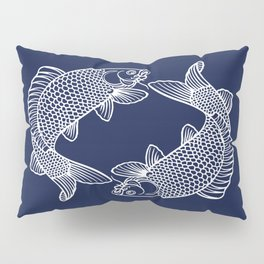 Navy Blue Koi Minimal Pillow Sham
