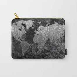 world map mandala black and white 3 Carry-All Pouch