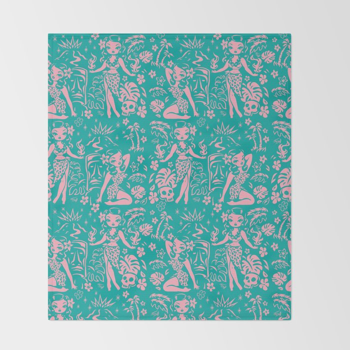 Tiki Temptress in Pink and Turquoise Throw Blanket